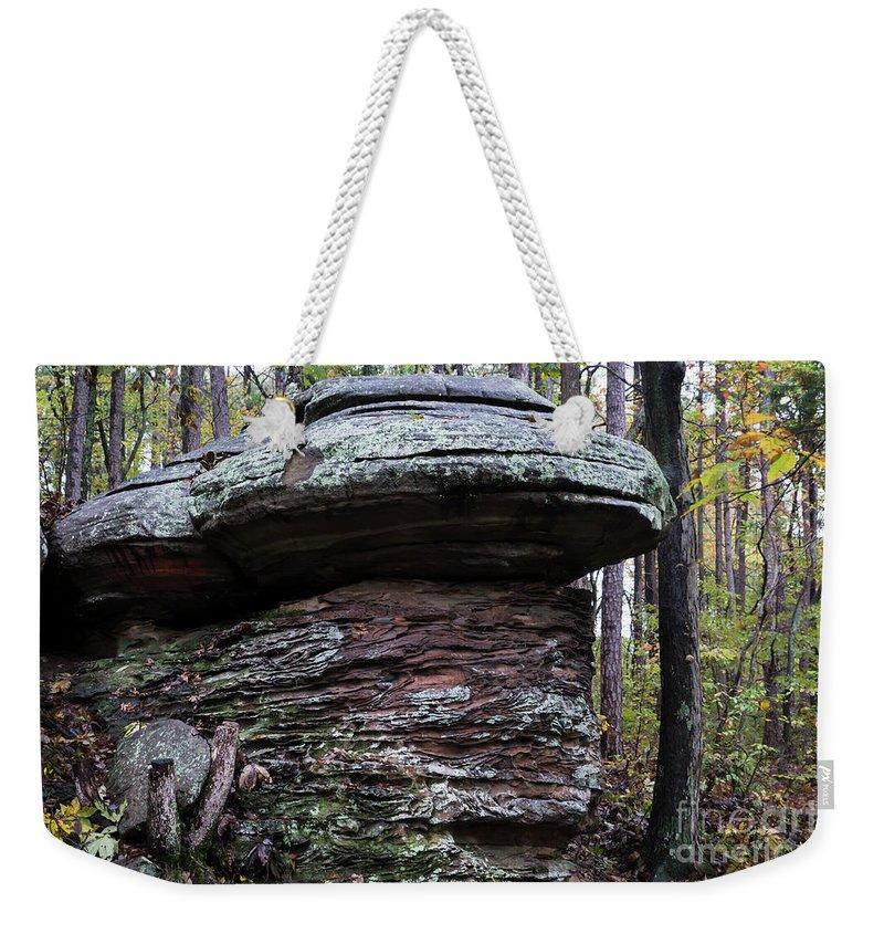 Mushroom Rock Weekender Tote Bag featuring the photograph Mushroom Rock by Andrea Silies