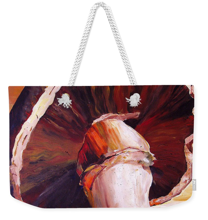 Mushroom Weekender Tote Bag featuring the painting Mushroom Still Life by Toni Grote