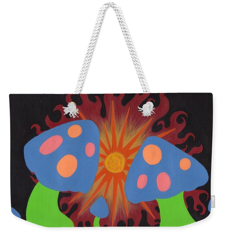Mushrooms Weekender Tote Bag featuring the painting Mushrooms And Fire by Jill Christensen