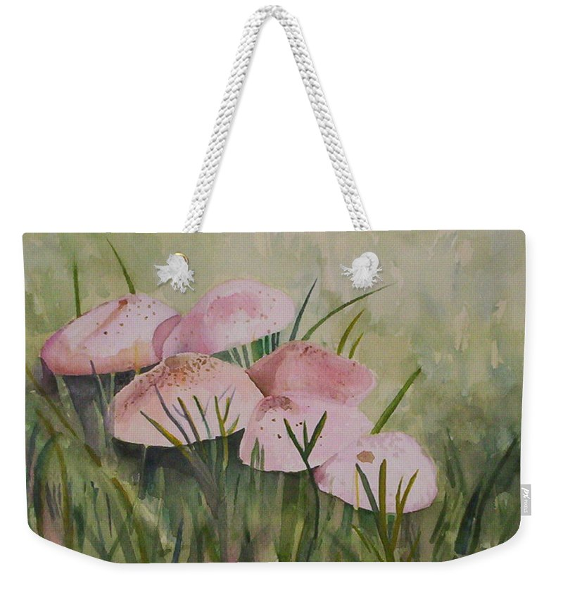 Landscape Weekender Tote Bag featuring the painting Mushrooms by Suzanne Udell Levinger
