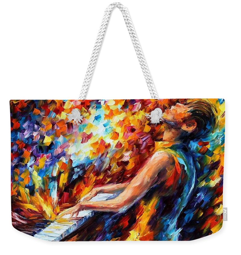 Afremov Weekender Tote Bag featuring the painting Music Fight by Leonid Afremov