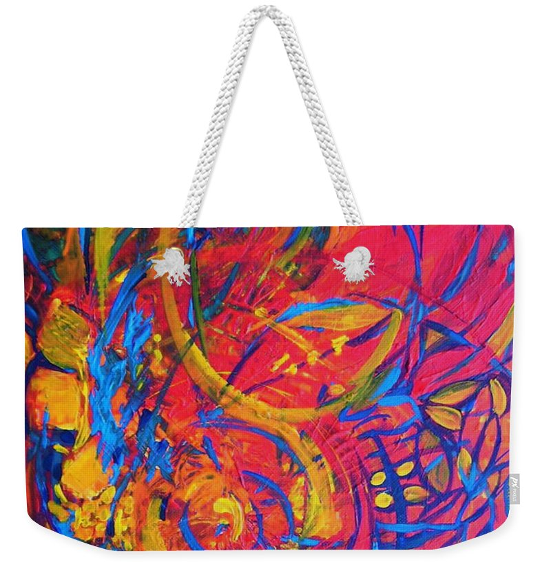 Abstract Weekender Tote Bag featuring the painting Music by Jeanette Jarmon