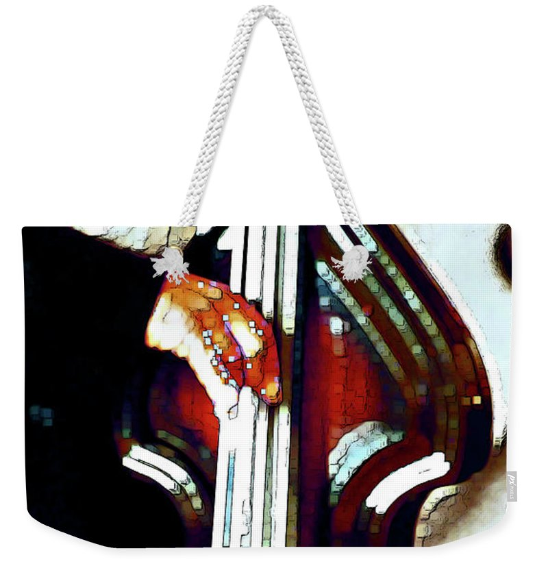 Abstract Weekender Tote Bag featuring the photograph Music Man Bass Violin by Linda Parker