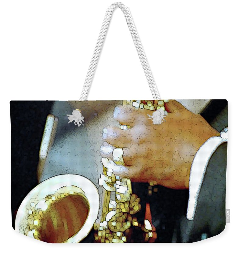 Abstract Weekender Tote Bag featuring the photograph Music Man Saxophone 1 by Linda Parker