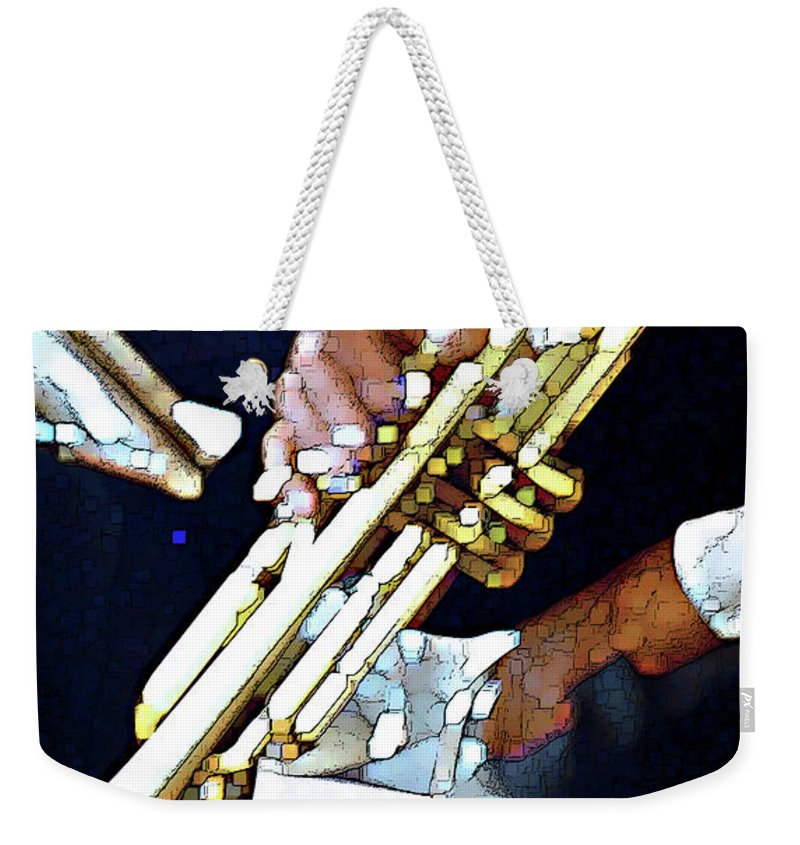 Abstract Weekender Tote Bag featuring the photograph Music Man Trumpet by Linda Parker
