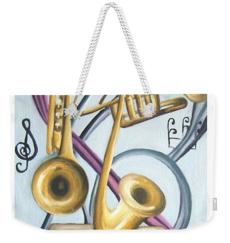 Abstract Paintings Weekender Tote Bag featuring the painting Music by Olaoluwa Smith