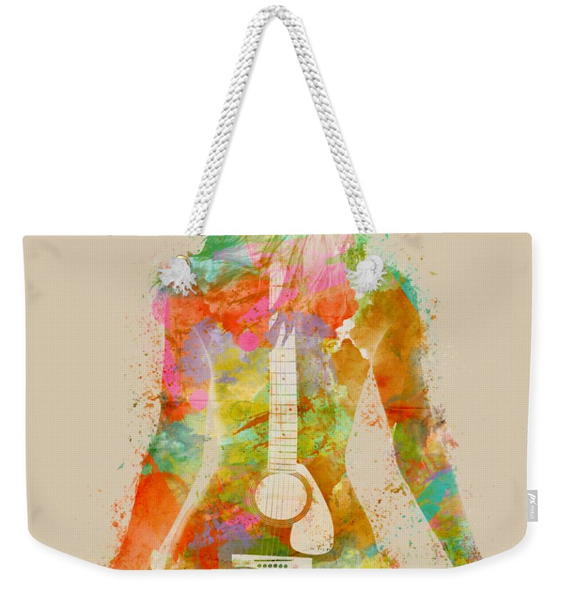 Guitar Weekender Tote Bag featuring the digital art Music Was My First Love by Nikki Marie Smith