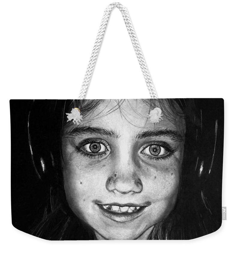 Face Weekender Tote Bag featuring the drawing Music by Yana Gifford