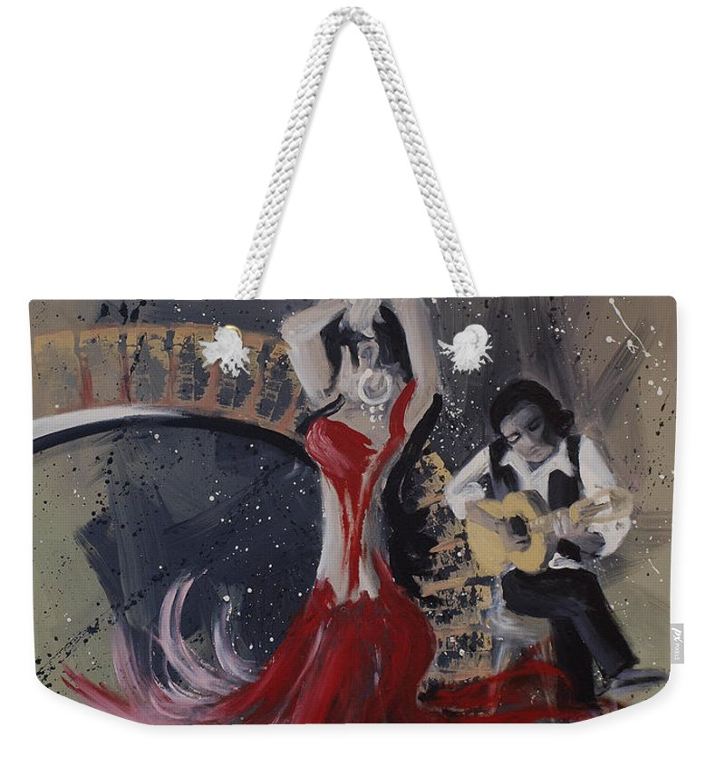Dance Weekender Tote Bag featuring the painting Musica Espaniol by Kelly Jade King