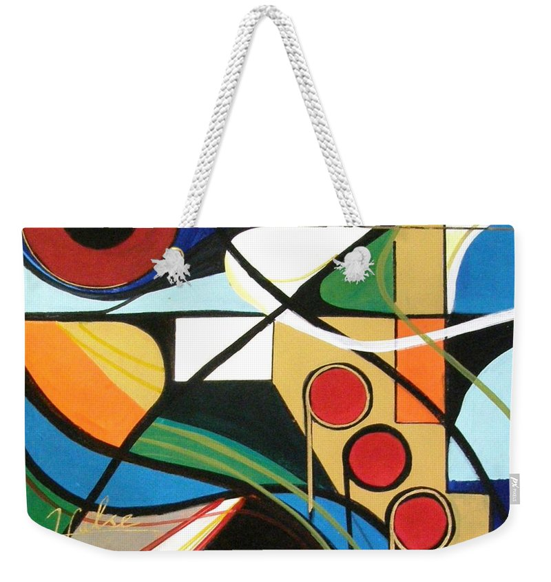 Music Weekender Tote Bag featuring the painting Musical Abstract by Gina Hulse