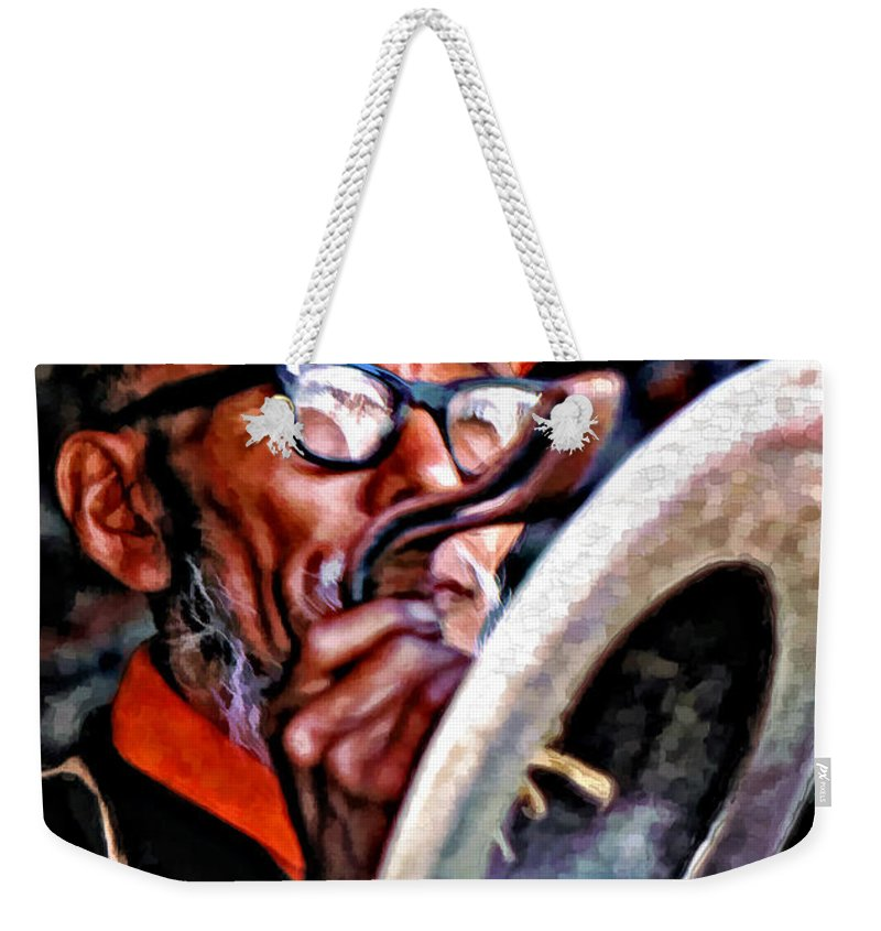 Buddhism Weekender Tote Bag featuring the photograph Musical Monk Watercolor by Steve Harrington