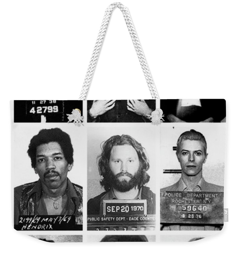 Jimi Hendrix Weekender Tote Bag featuring the photograph Musical Mug Shots Three Legends Very Large Original Photo 9 by Tony Rubino