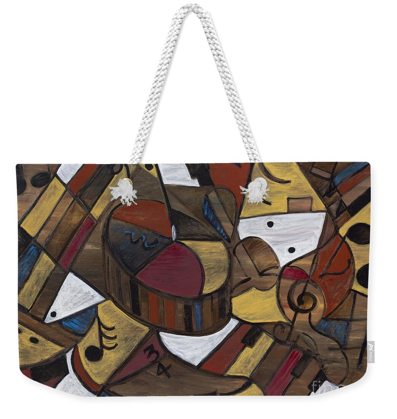Brown Weekender Tote Bag featuring the painting Musicality In Brown by Nadine Rippelmeyer