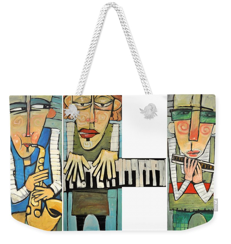 Musicians Weekender Tote Bag featuring the painting Musician Trio by Tim Nyberg