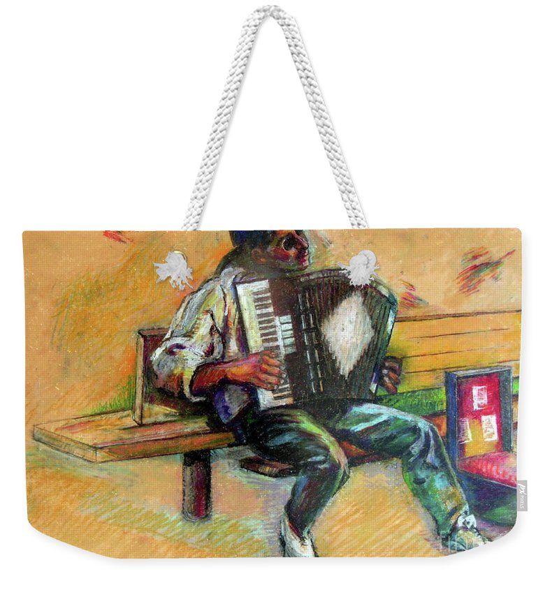 Music Weekender Tote Bag featuring the drawing Musician With Accordion by Stan Esson