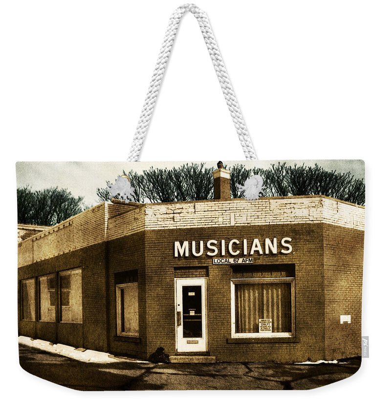 1950s Weekender Tote Bag featuring the photograph Musicians Local 67 by Tim Nyberg
