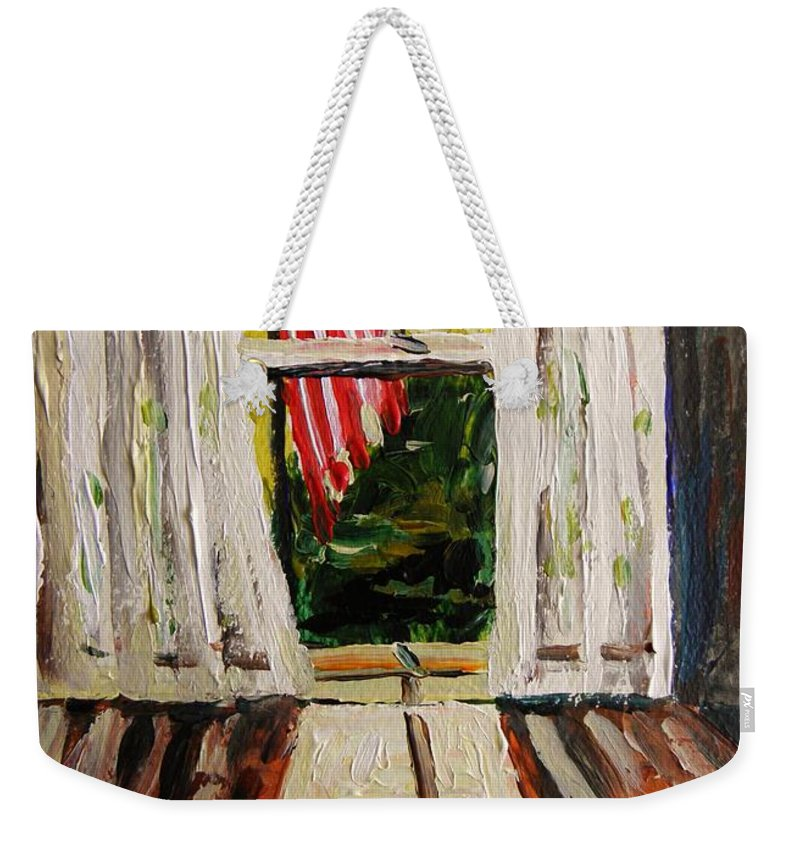 American Flag Weekender Tote Bag featuring the painting Musing-glory Through The Window by John Williams