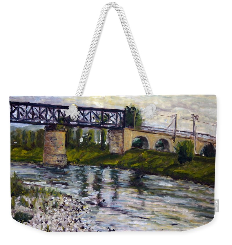 Landscape Weekender Tote Bag featuring the painting Muskar by Pablo de Choros