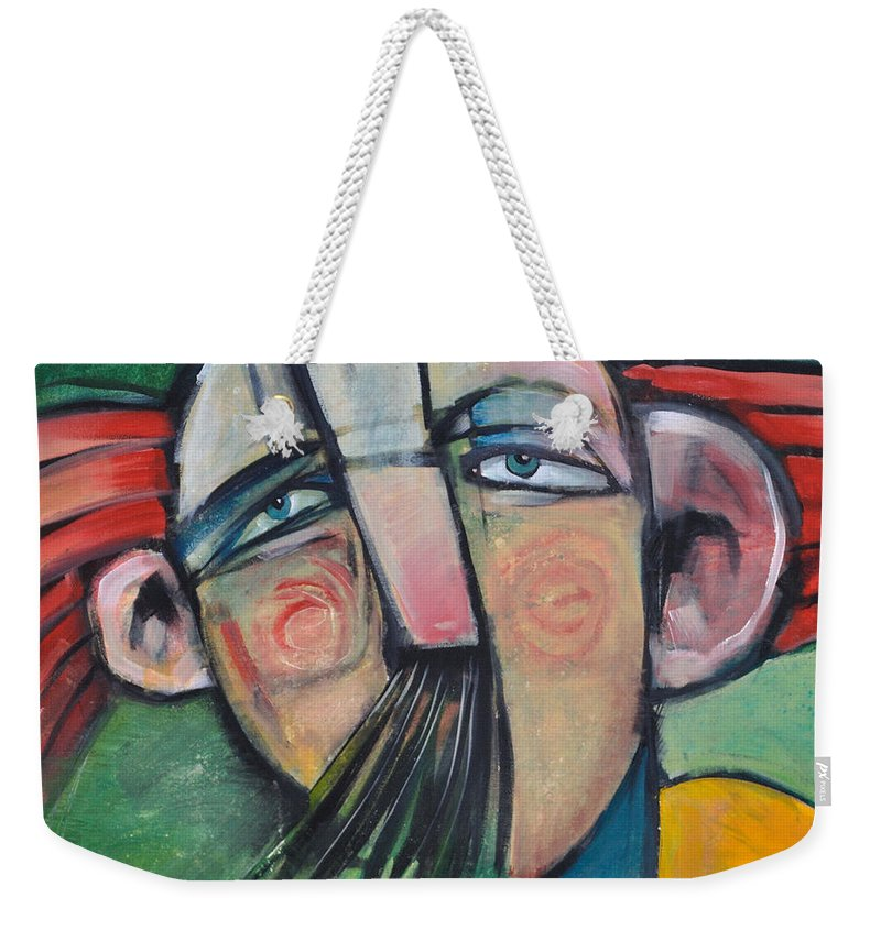 Humor Weekender Tote Bag featuring the painting Mustached Man In Wind by Tim Nyberg