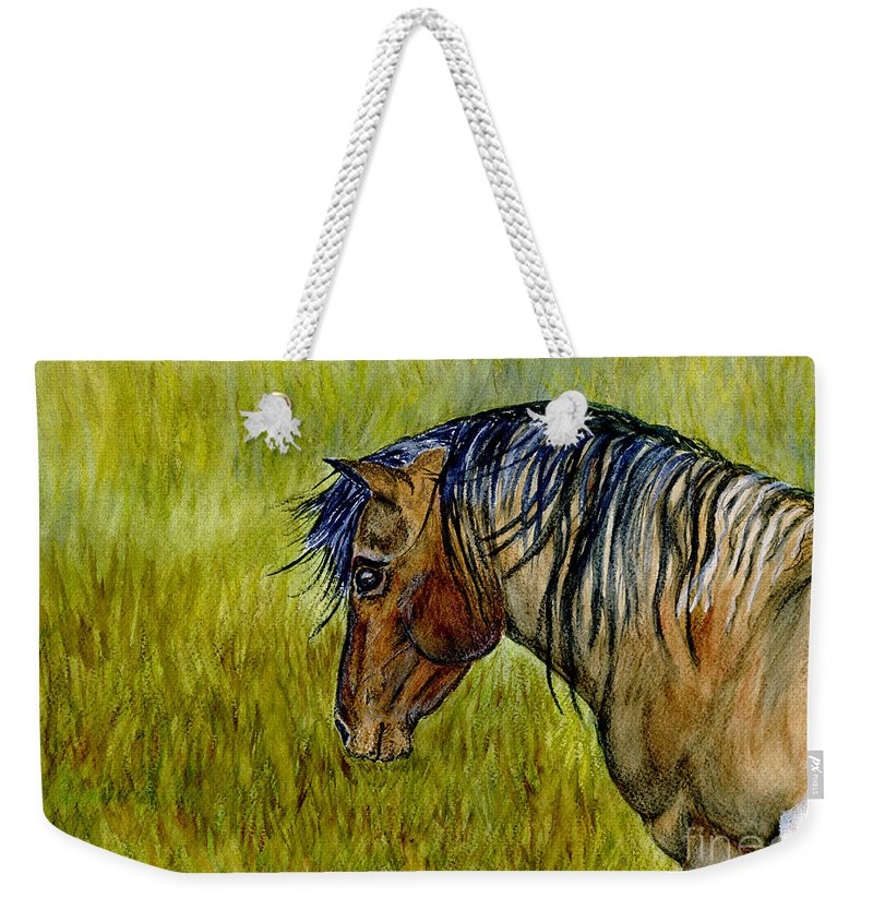 Horse Weekender Tote Bag featuring the painting Mustang Stallion by Jim And Emily Bush