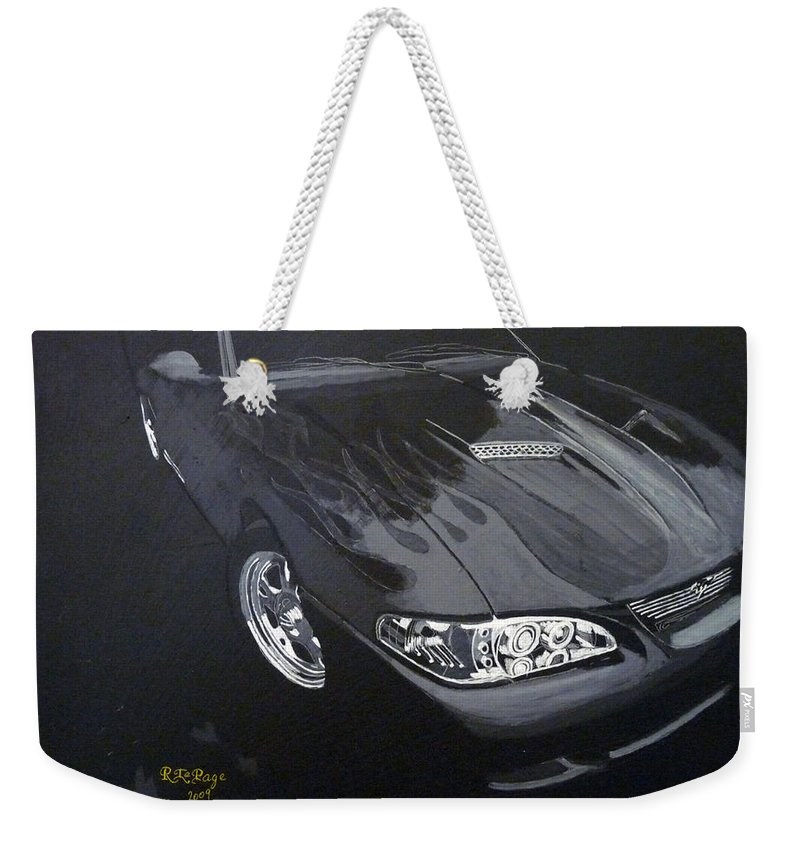 Mustang Weekender Tote Bag featuring the painting Mustang With Flames by Richard Le Page