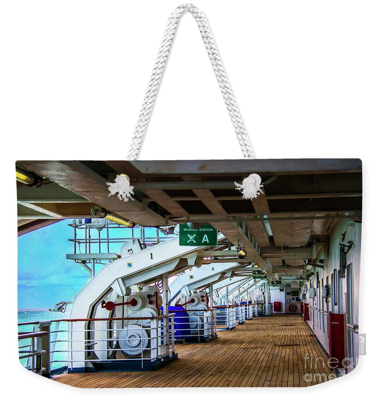 Ship Weekender Tote Bag featuring the photograph Muster Station A by Roberta Bragan