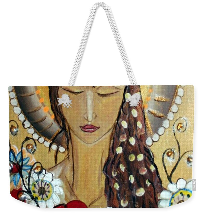 Art Weekender Tote Bag featuring the painting My Angel Modern Icon by Luiza Vizoli