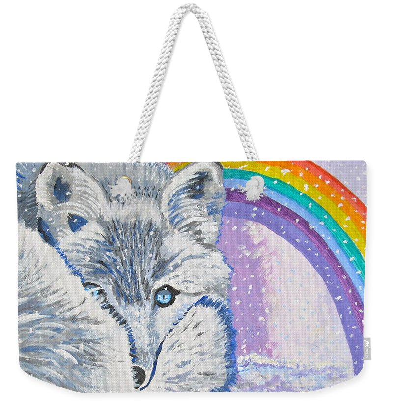 White Fox Weekender Tote Bag featuring the painting My Artic Fox by Phyllis Kaltenbach