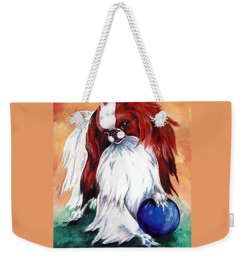 Japanese Chin Weekender Tote Bag featuring the painting My Ball by Kathleen Sepulveda