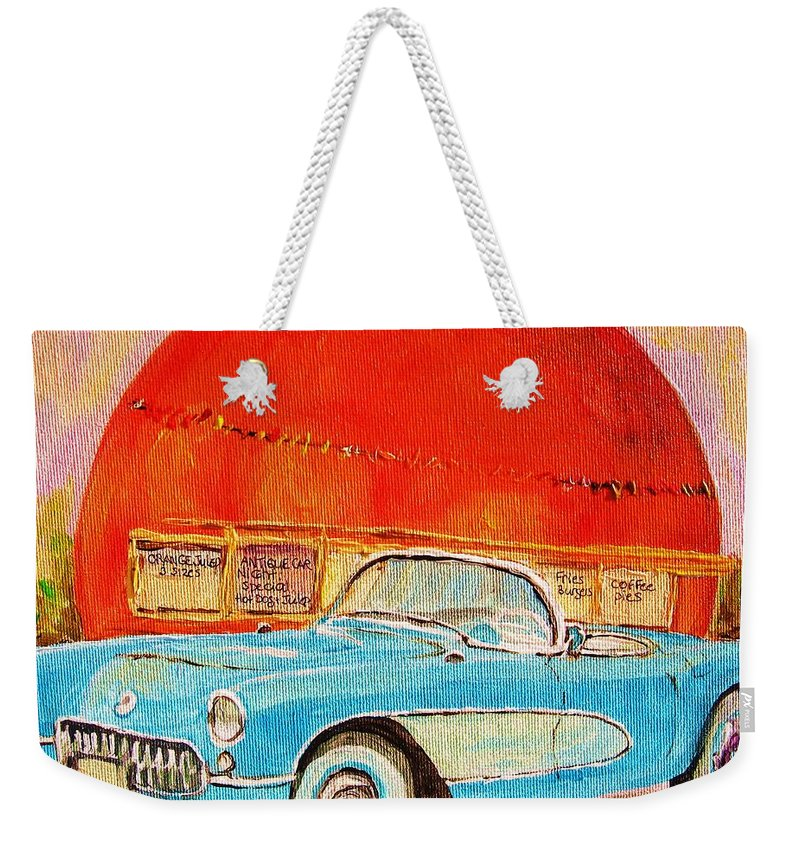 Montreal Weekender Tote Bag featuring the painting My Blue Corvette At The Orange Julep by Carole Spandau