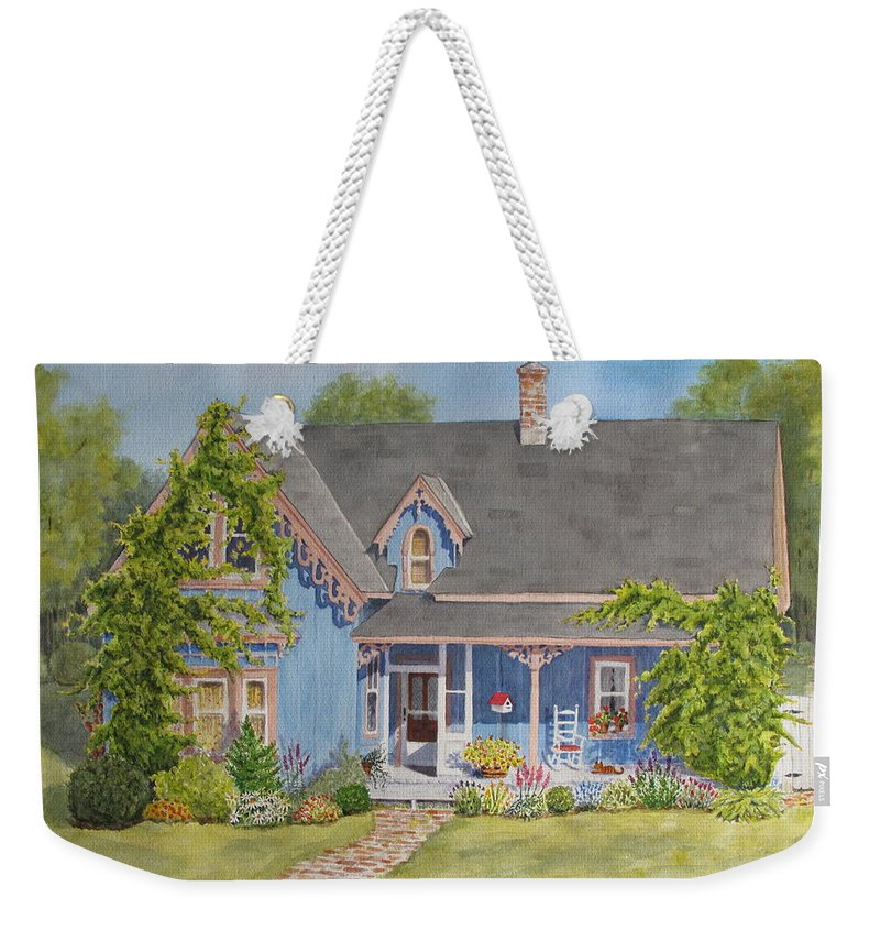 House Weekender Tote Bag featuring the painting My Blue Heaven by Mary Ellen Mueller Legault