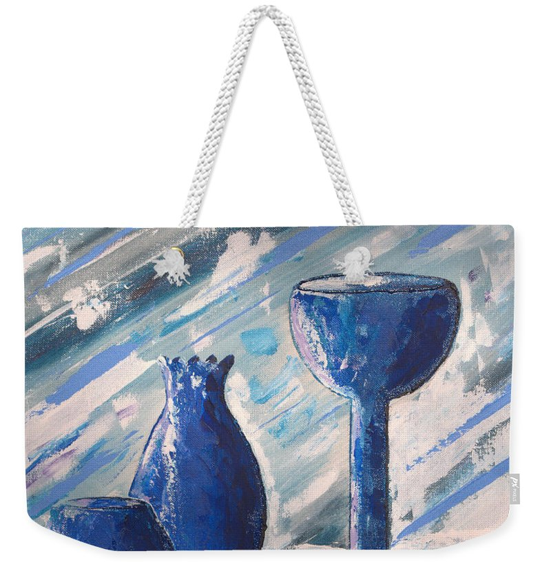 Vases Weekender Tote Bag featuring the painting My Blue Vases by J R Seymour