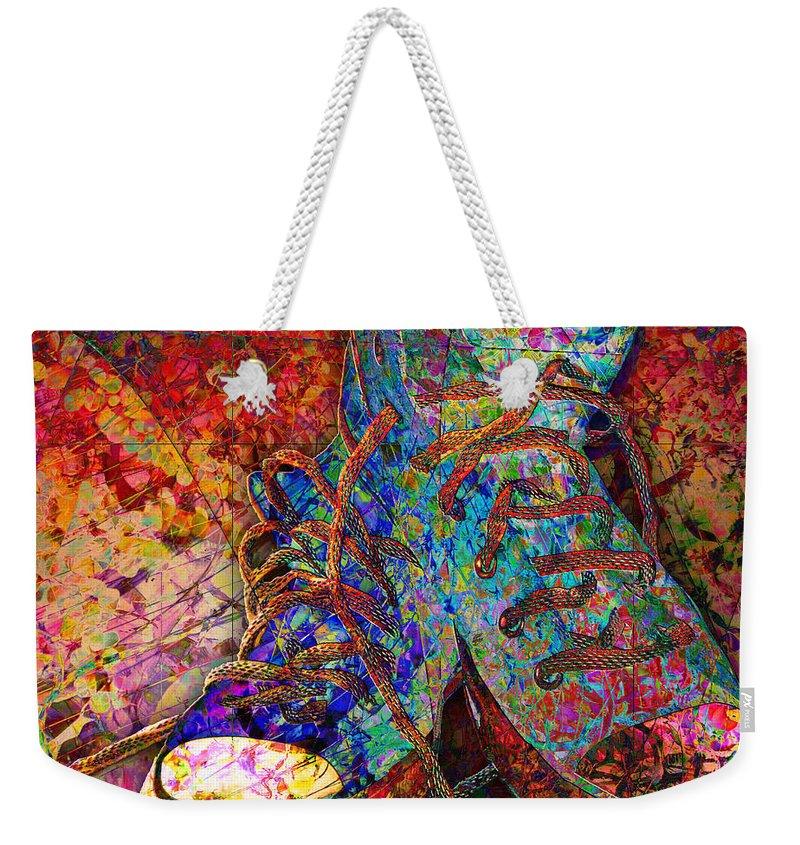 Sneakers Weekender Tote Bag featuring the digital art My Cool Sneakers by Barbara Berney