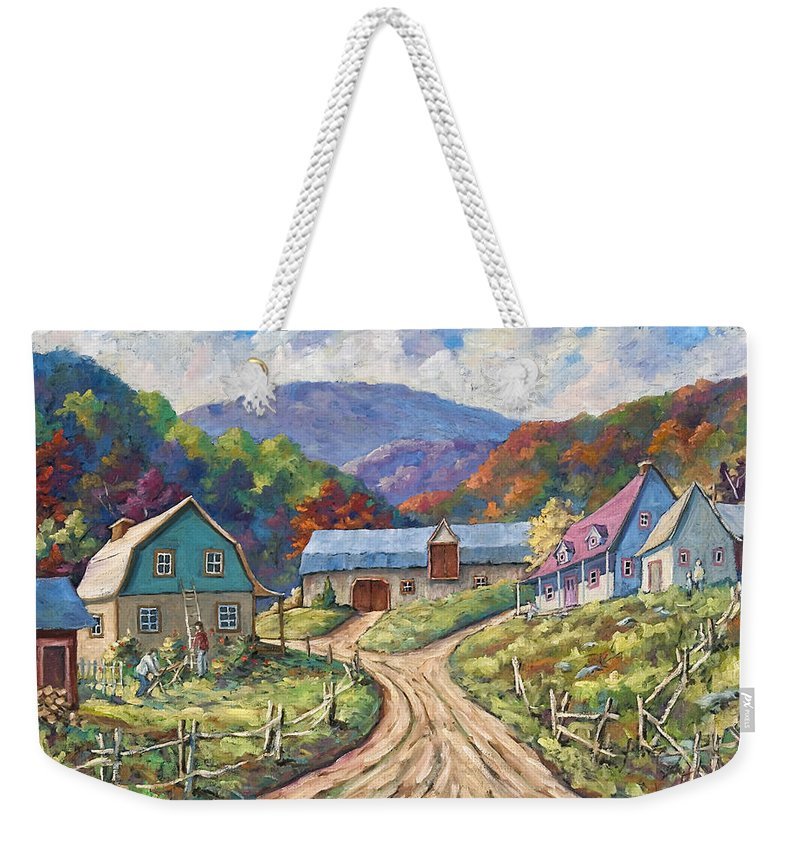 Country Weekender Tote Bag featuring the painting My Country My Village by Richard T Pranke