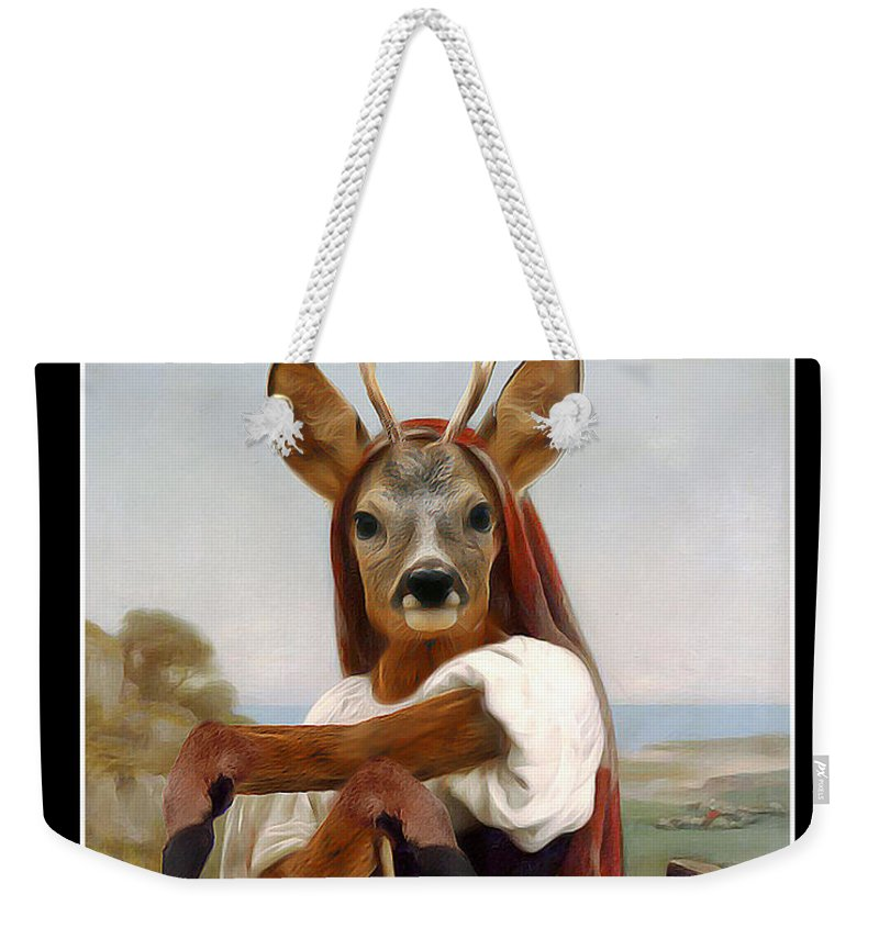Bouguereau Weekender Tote Bag featuring the painting My Deer Shepherdess by Gravityx9 Designs