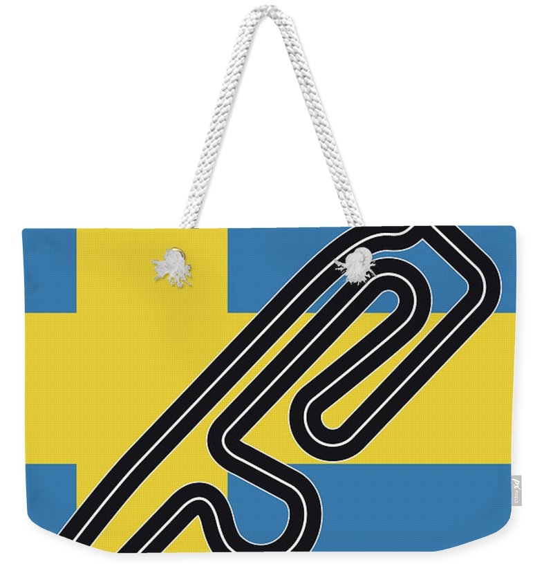 Swedish Weekender Tote Bag featuring the digital art My F1 Anderstorp Race Track Minimal Poster by Chungkong Art