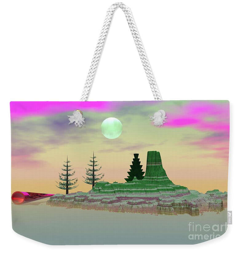 Fantasy Weekender Tote Bag featuring the digital art My Fantasy Island by Deborah Benoit