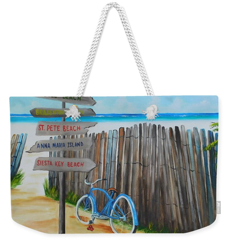 Beach Weekender Tote Bag featuring the painting My Favorite Beaches by Lloyd Dobson