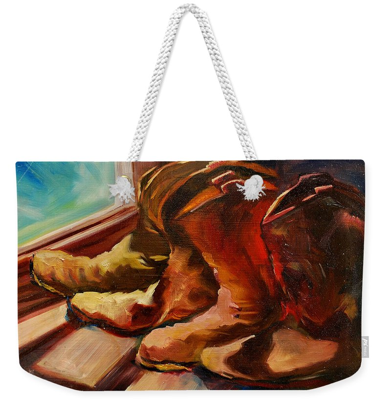 Boots Weekender Tote Bag featuring the painting My Favorite Boots by Diane Whitehead