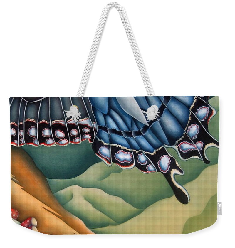 Butterfly Weekender Tote Bag featuring the painting My Favorite Canyon by Jeniffer Stapher-Thomas