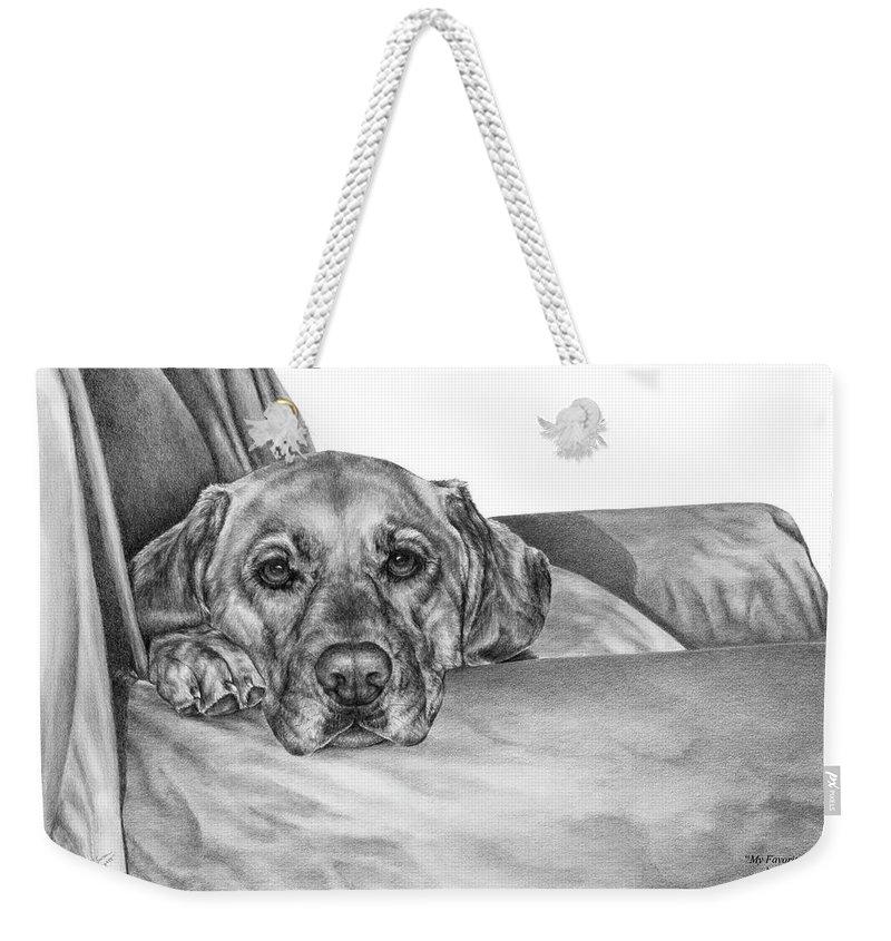 Lab Weekender Tote Bag featuring the drawing My Favorite Chair by Kelli Swan