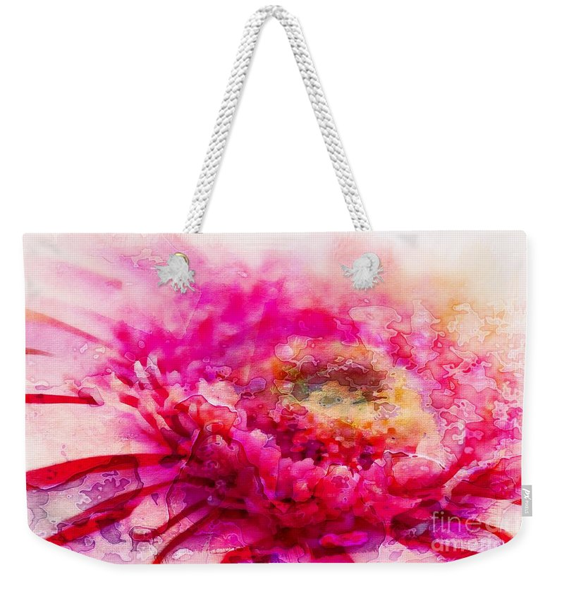 Gerbera Weekender Tote Bag featuring the photograph My Favourite Abstract by Clare Bevan