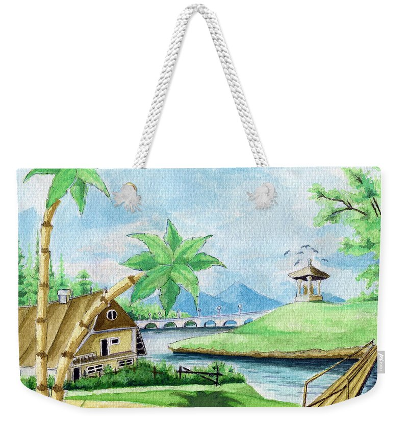 Landscape Weekender Tote Bag featuring the painting My First Landscape Watercolor Painting At The Age Of 18 by Alban Dizdari