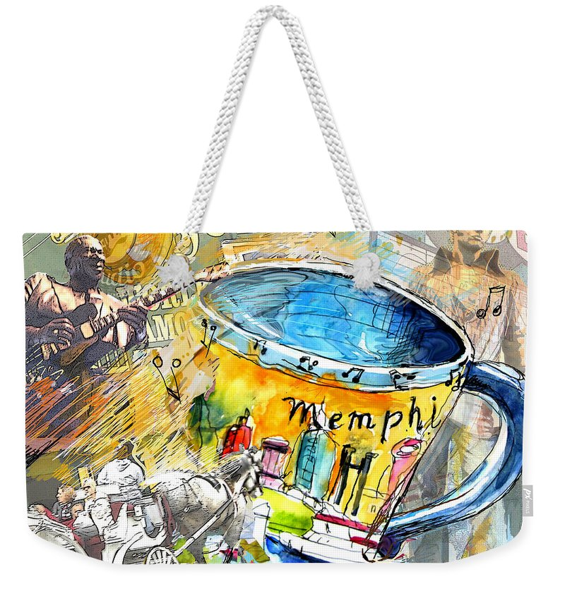 Coffee Weekender Tote Bag featuring the painting My First Memphis Mug by Miki De Goodaboom