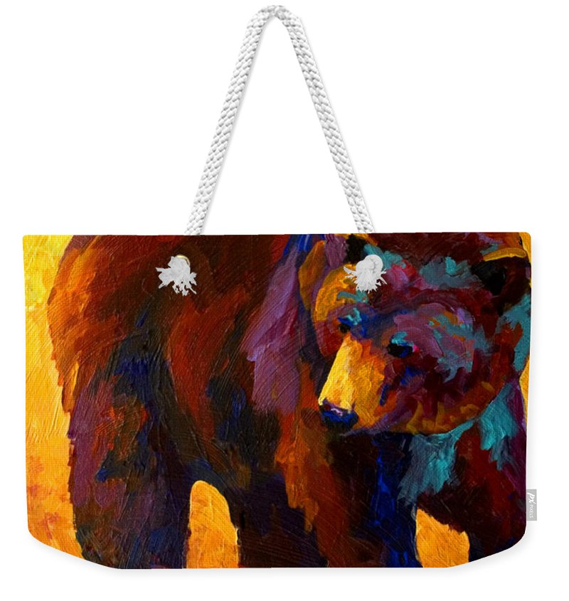 Bear Weekender Tote Bag featuring the painting My Fish - Grizzly Bear by Marion Rose