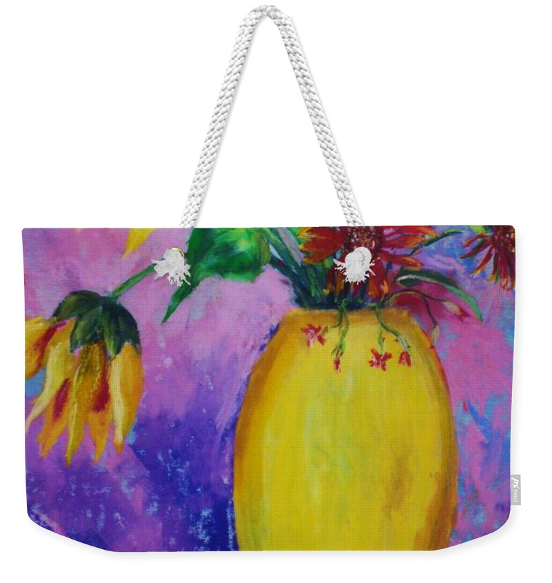 Sunflowers Weekender Tote Bag featuring the painting My Flowers by Melinda Etzold