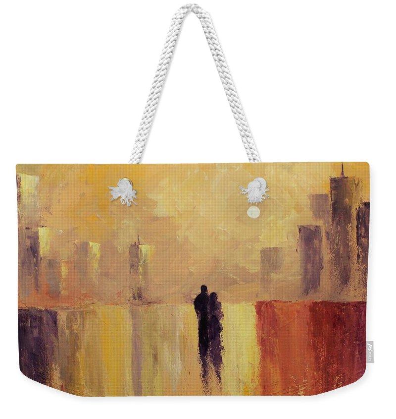 Friend Weekender Tote Bag featuring the painting My Friend My Lover by Angel Reyes