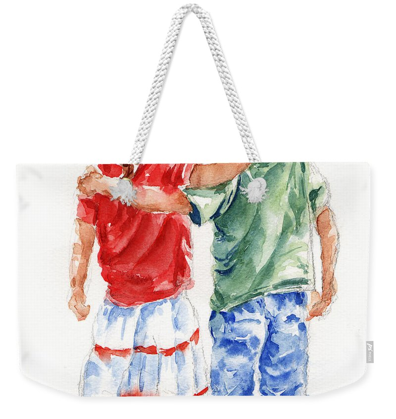 Watercolour Weekender Tote Bag featuring the painting My Friend by Stephie Butler