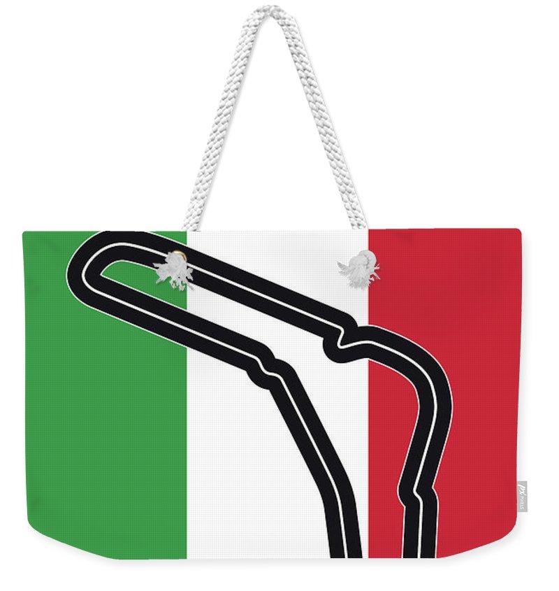 Autodromo Weekender Tote Bag featuring the digital art My Gran Premio D Italia Minimal Poster by Chungkong Art