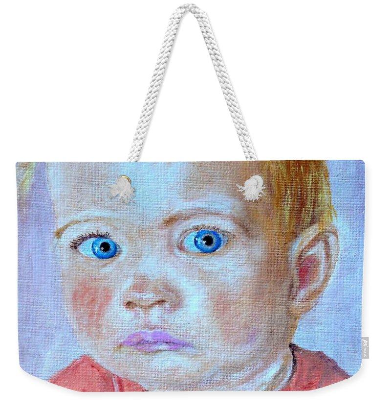Leonie Weekender Tote Bag featuring the painting My granddaughter Leonie by Helmut Rottler